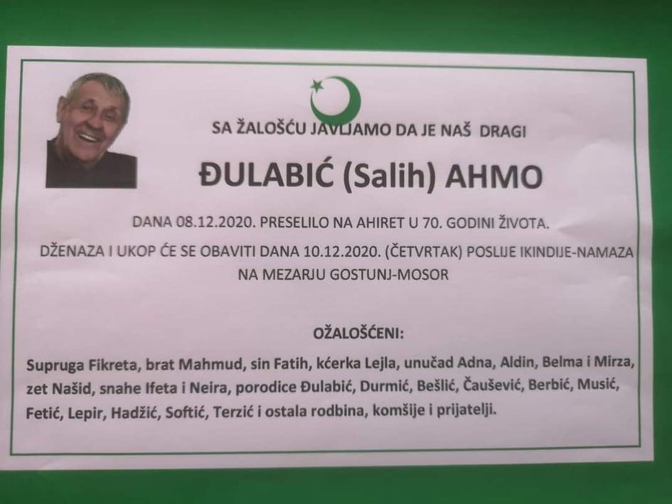 Preminuo Ahmo Đulabić