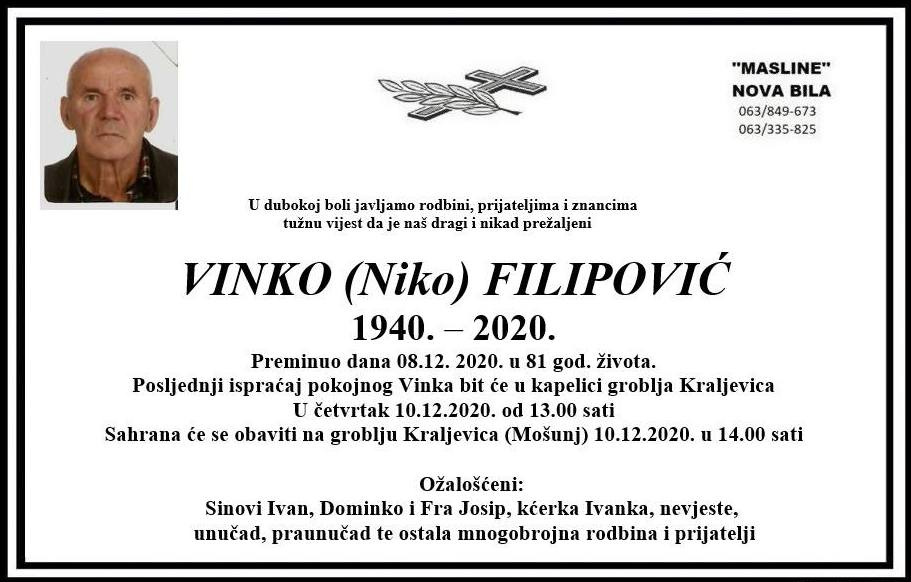 Sutra sahrana Vinku Filipoviću