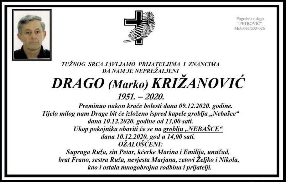 Preminuo Drago Križanović