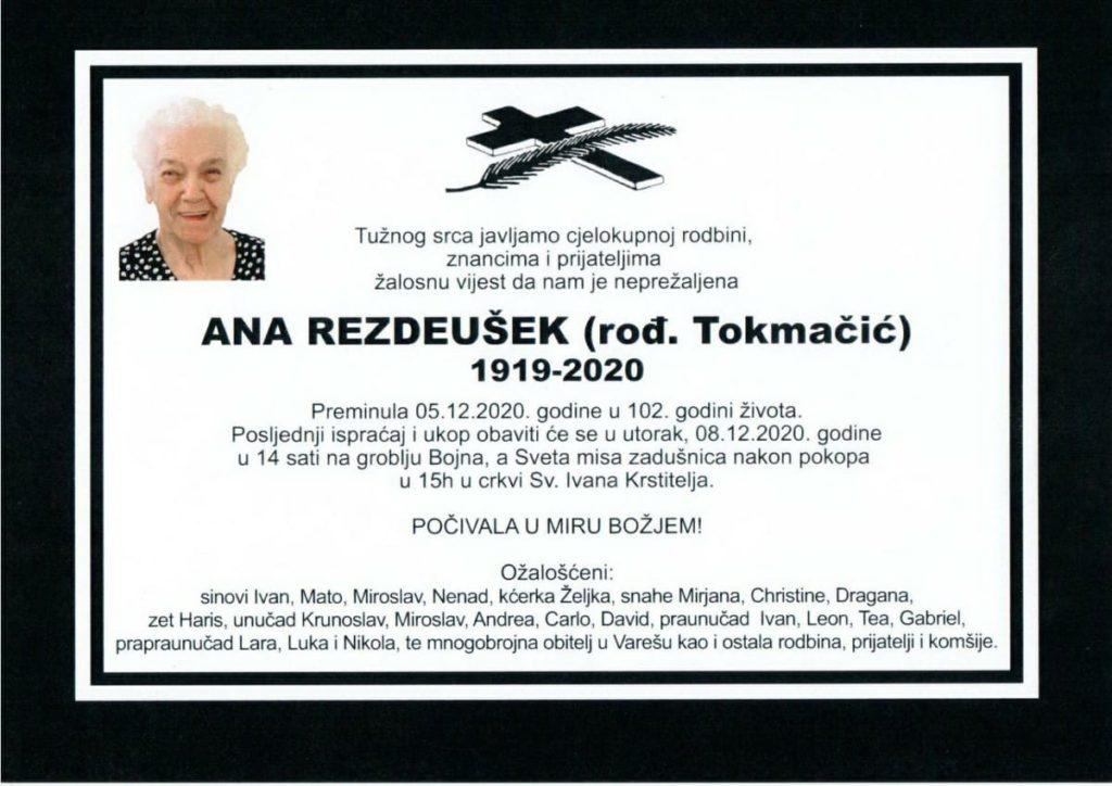 U 102. godini preminula Ana Rezdeušek
