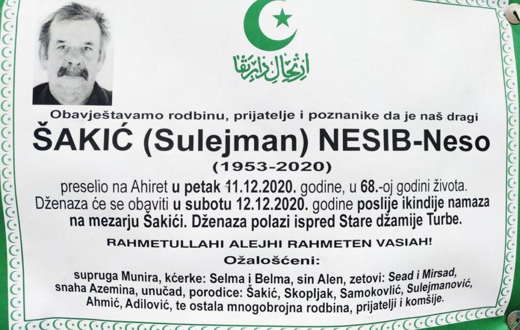 Preminuo Šakić Nesib-Neso