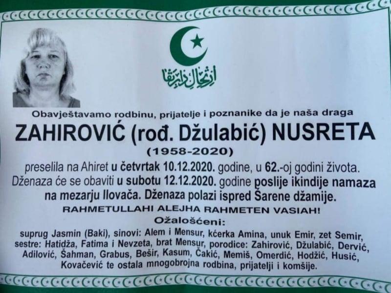 Preminula Nusreta Zahirović