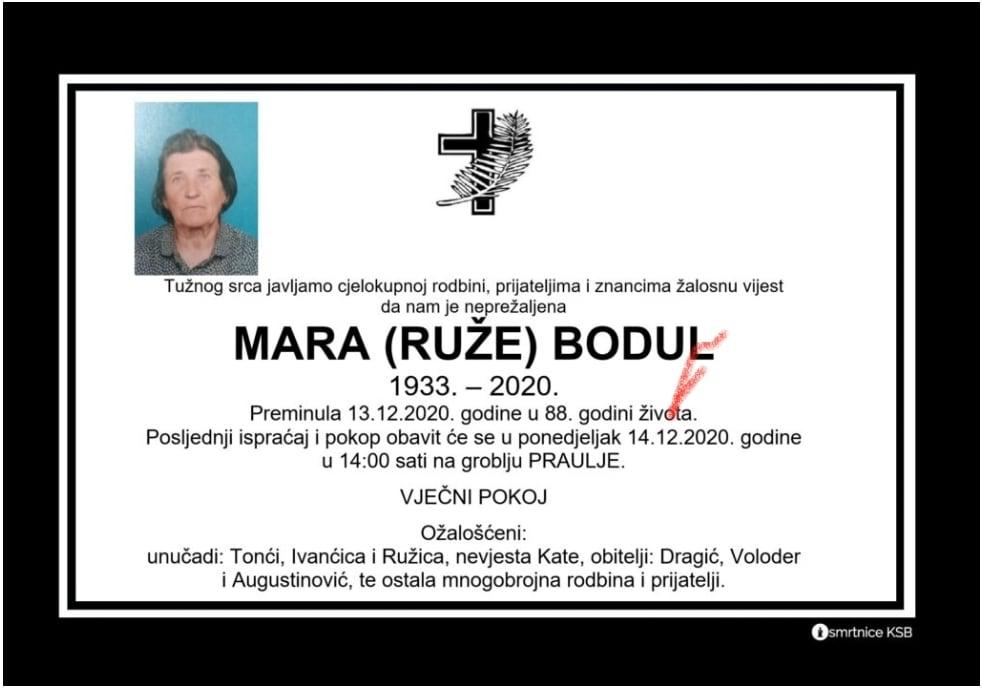 Preminula Mara Bodul