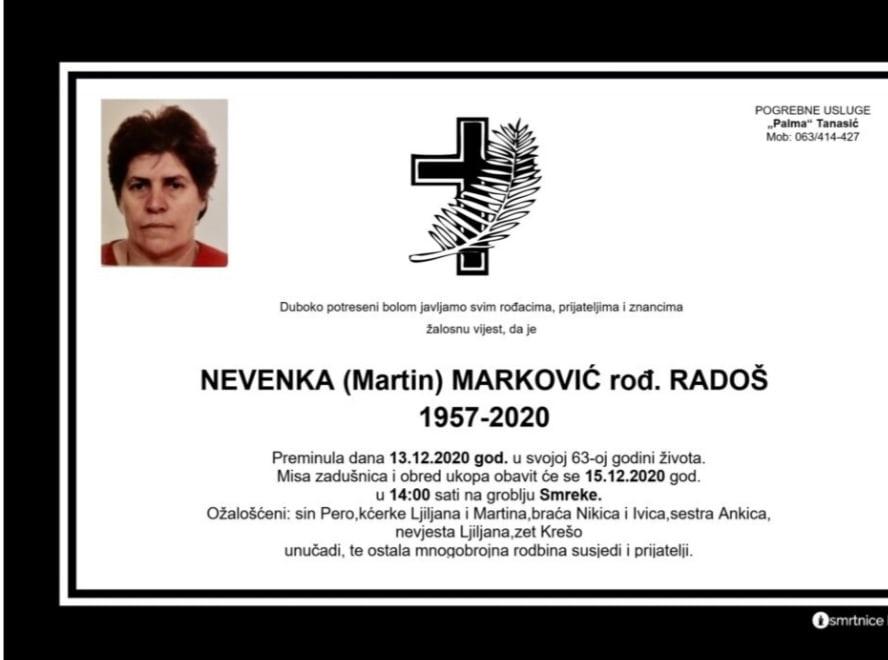 Preminula Nevenka Marković