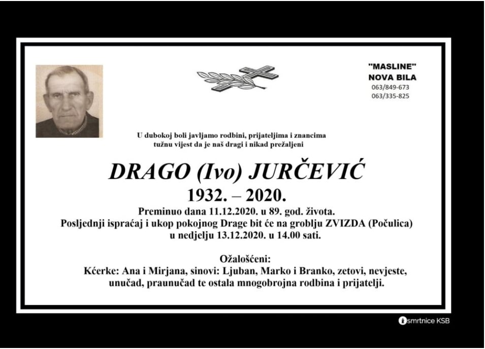Preminuo Drago Jurčević