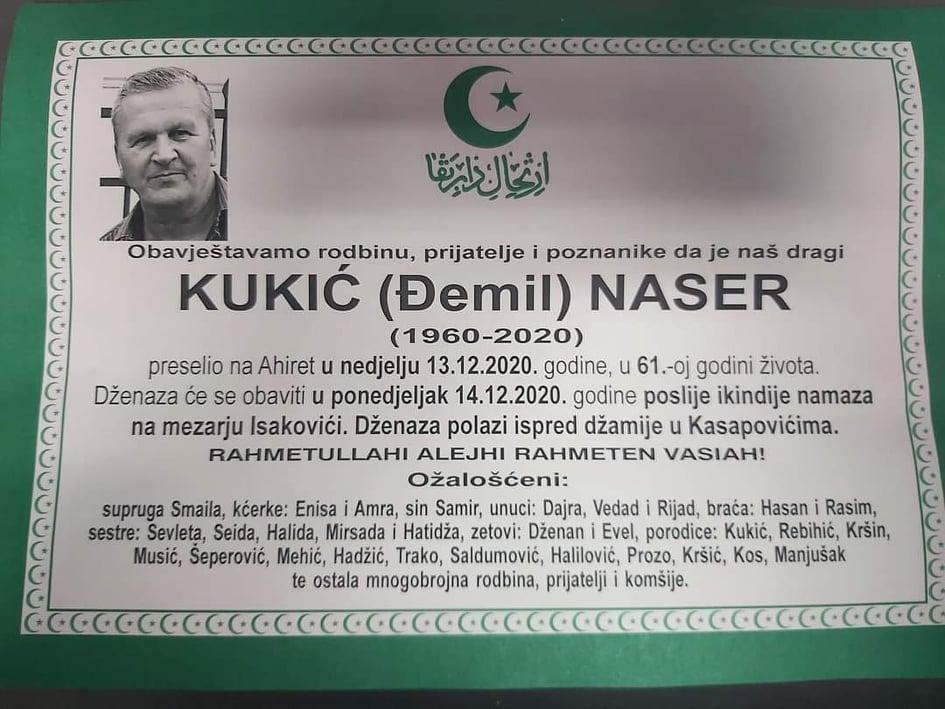 Preminuo Naser Kukić
