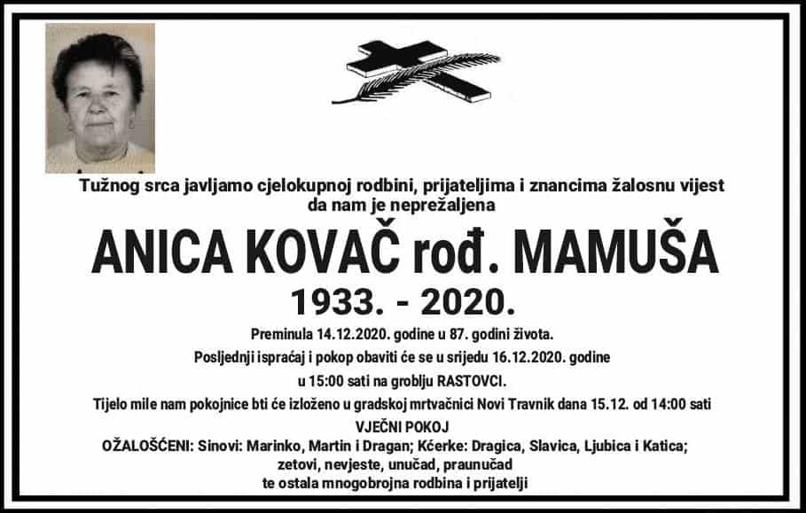 Preminula Anica Kovač