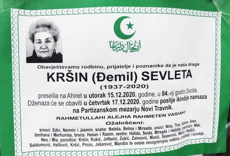 Preminula Sevleta Kršin