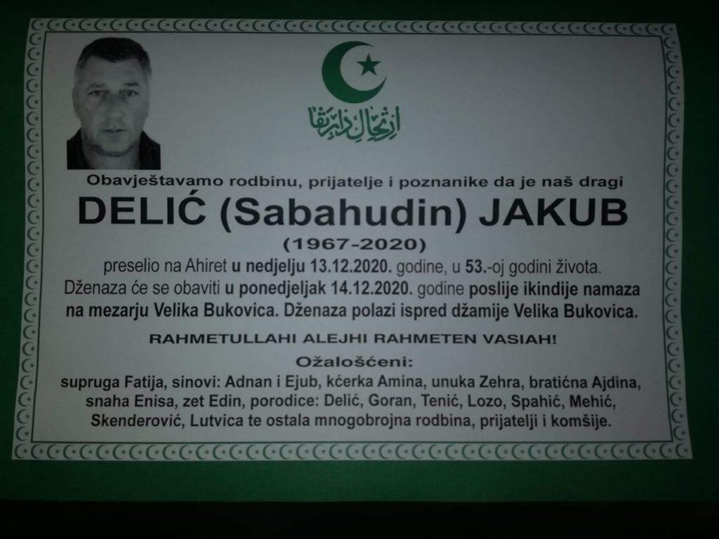 Preminuo Delić Jakub