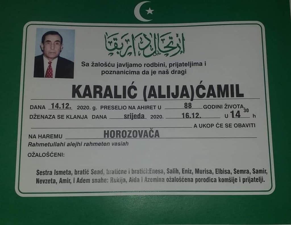 Preminuo Karalić Ćamil