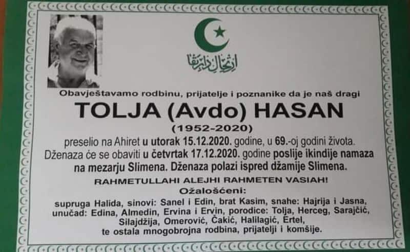 Preminuo Hasan Tolja