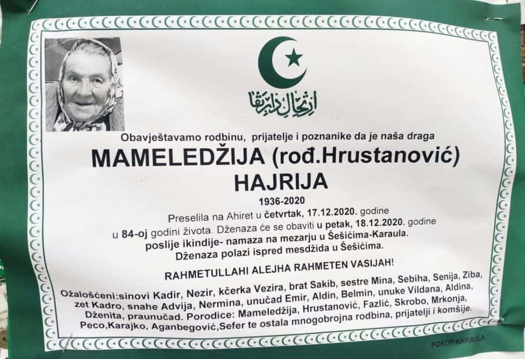 Preminula Mameledžija Hajrija