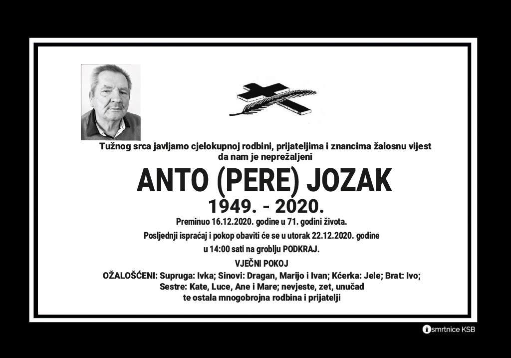 Preminuo Anto Jozak