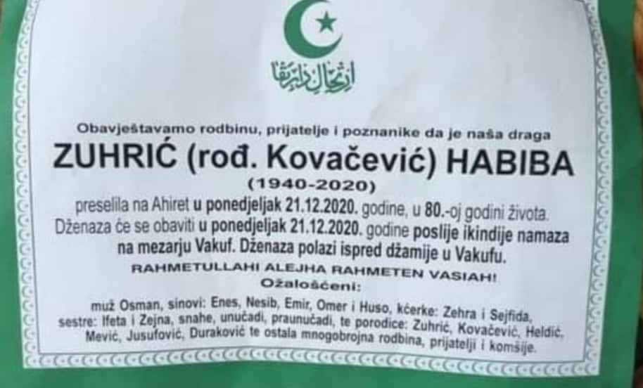 Preminula Zuhrić Habiba