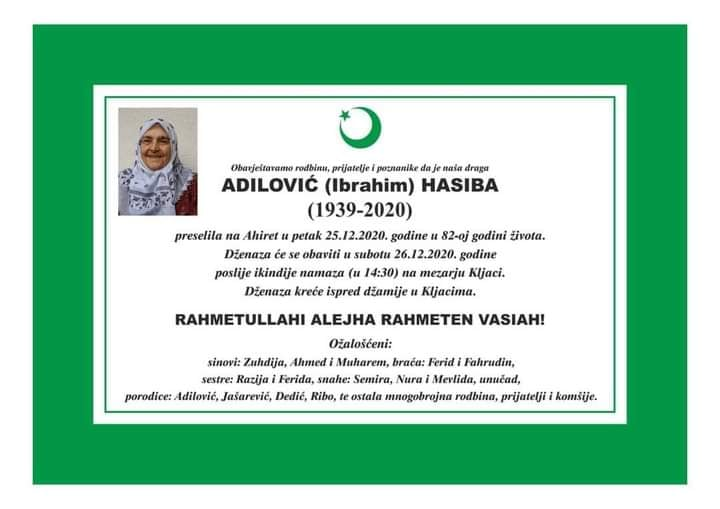 Preminula Adilović Hasiba