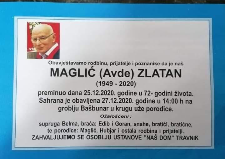 Preminuo Maglić Zlatan