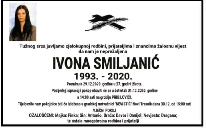Preminula 27-godišnja Ivona Smiljanić