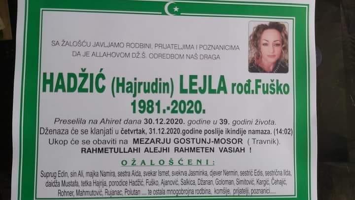 Preminula Hadžić Lejla rođ. Fuško
