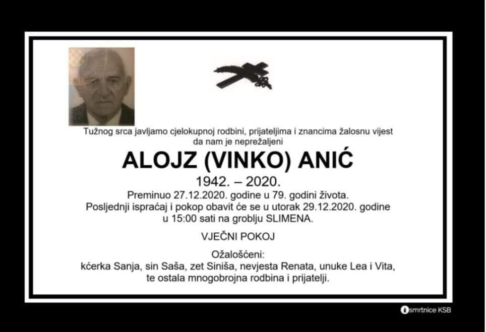 Preminuo Alojz Anić
