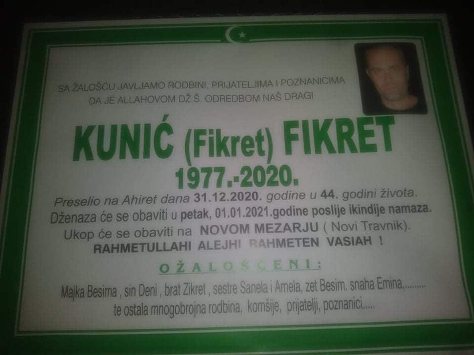 U 44. godini preminuo Kunić Fikret