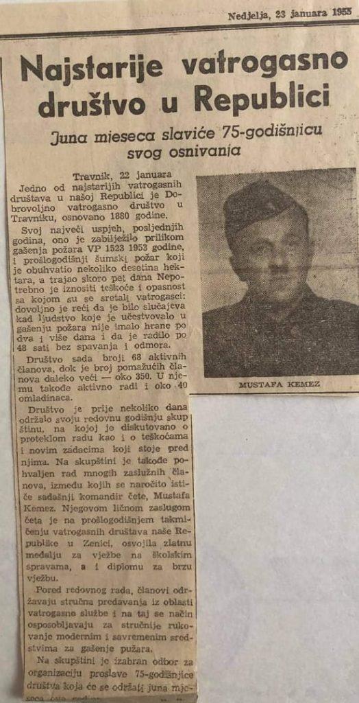 Pročitajte članak o Travničkim vatrogascima napisan 1955. godine