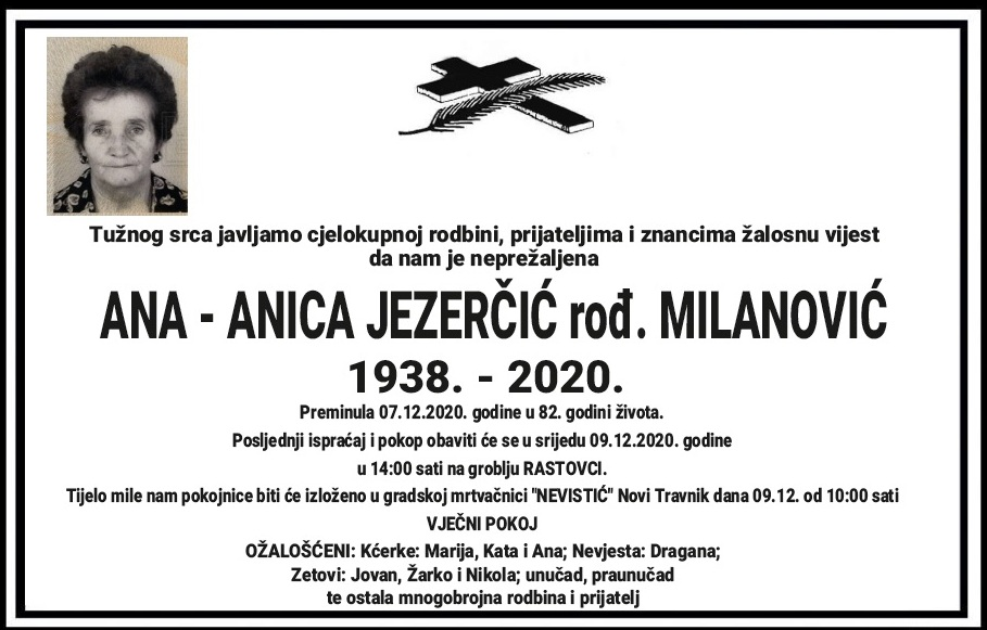 Preminula Ana Jezerčić