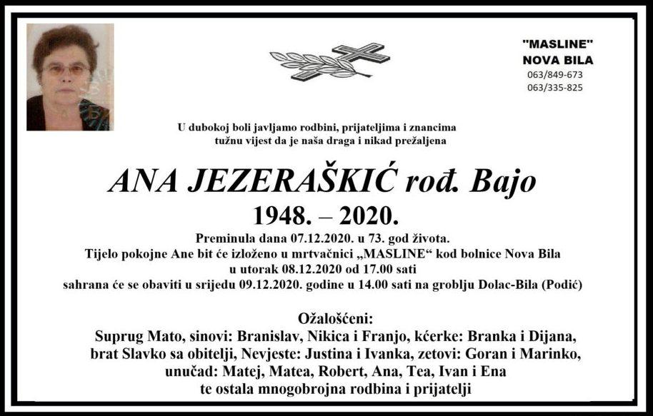 U srijedu sahrana Ani Jezeraškić