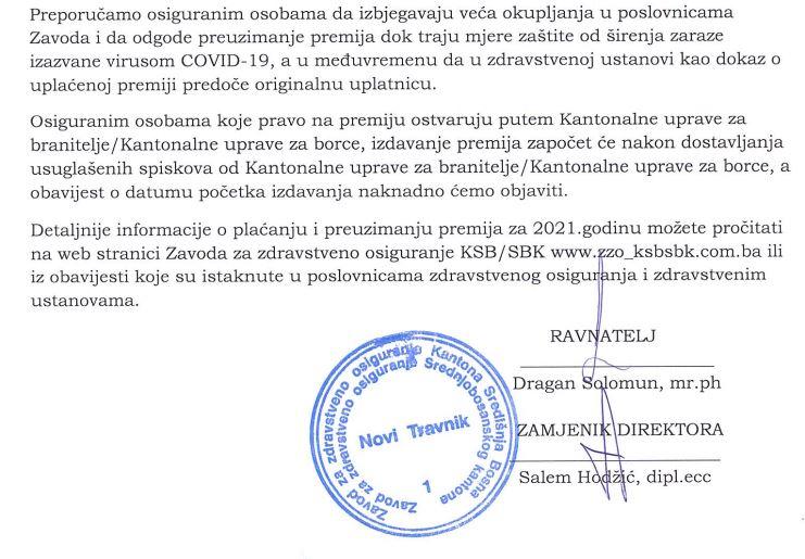 SBK / Počinje uplata zdravstvenih markica