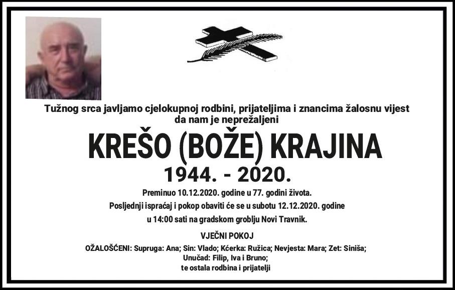 U 77. godini života preminuo Krešo Krajina