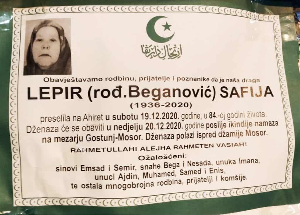 Preminula je Safija Lepir