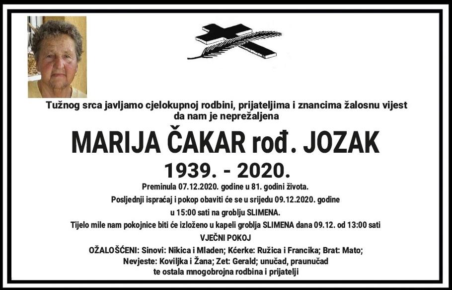 Preminula Marija Čakar