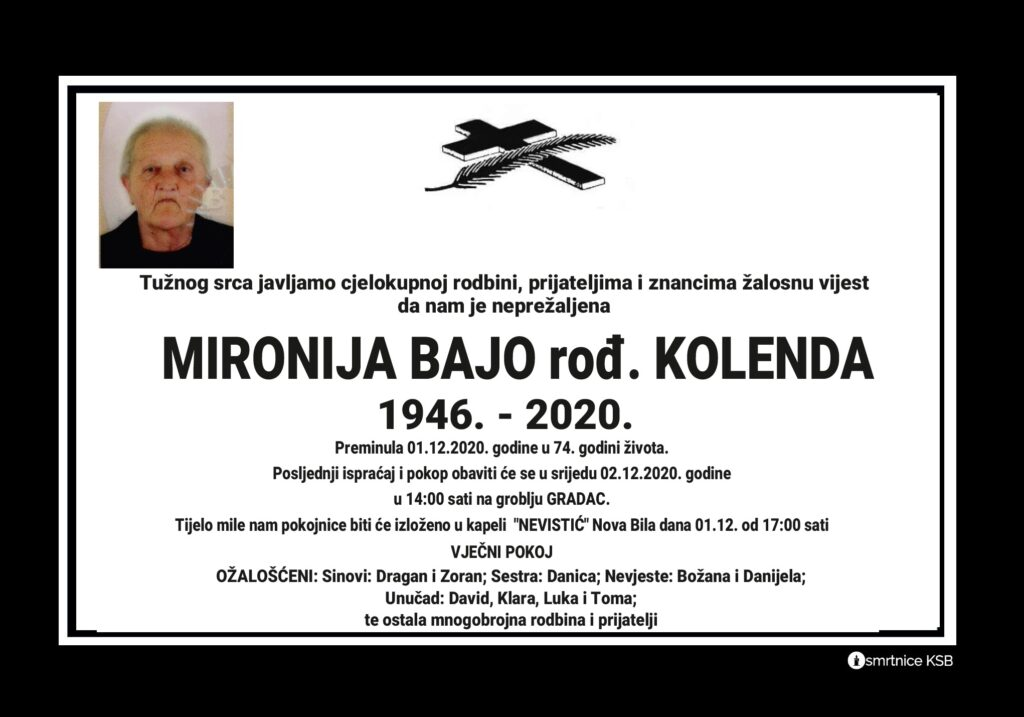 Preminula Mironija Bajo rođ. Kolenda