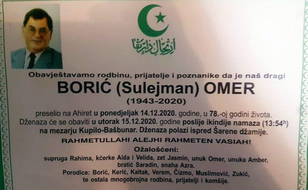 Preminuo profesor Omer Borić