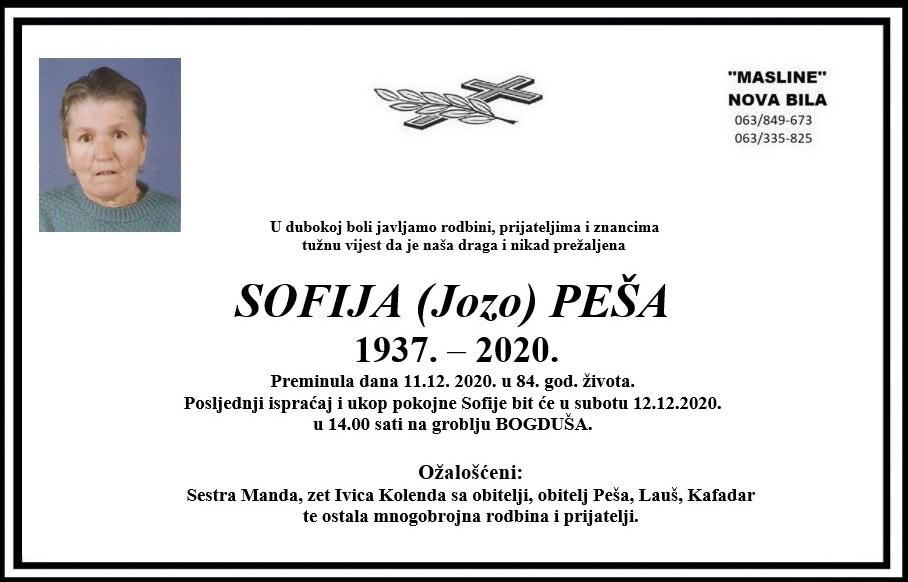 Preminula Sofija Peša