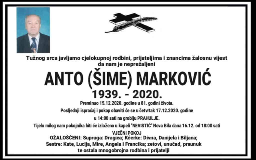Preminuo Anto Marković