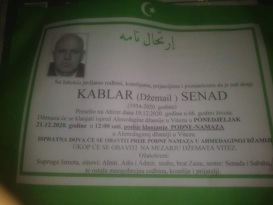 Preminuo je Senad Kablar
