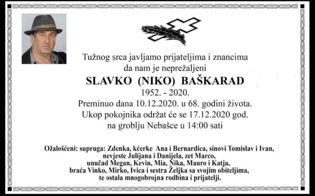 Danas sahrana Slavku Baškaradu