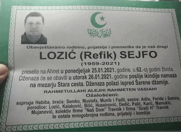 Preminuo Lozić Sejfo