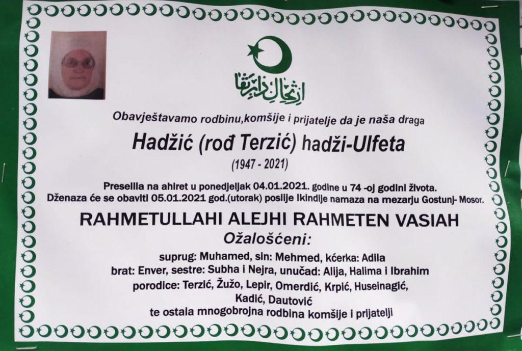 Preminula Hadžić Ulfeta