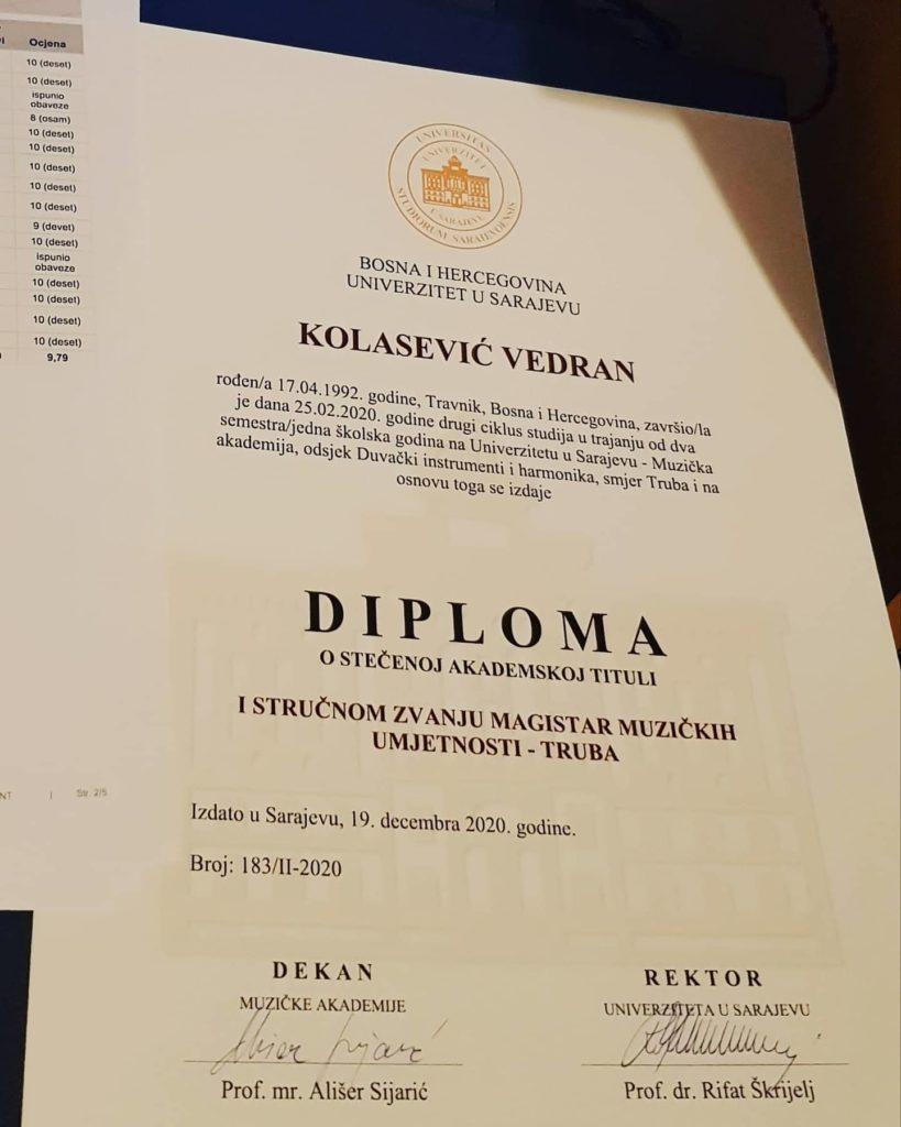 Travničanin Vedran Kolasević magistar trube!
