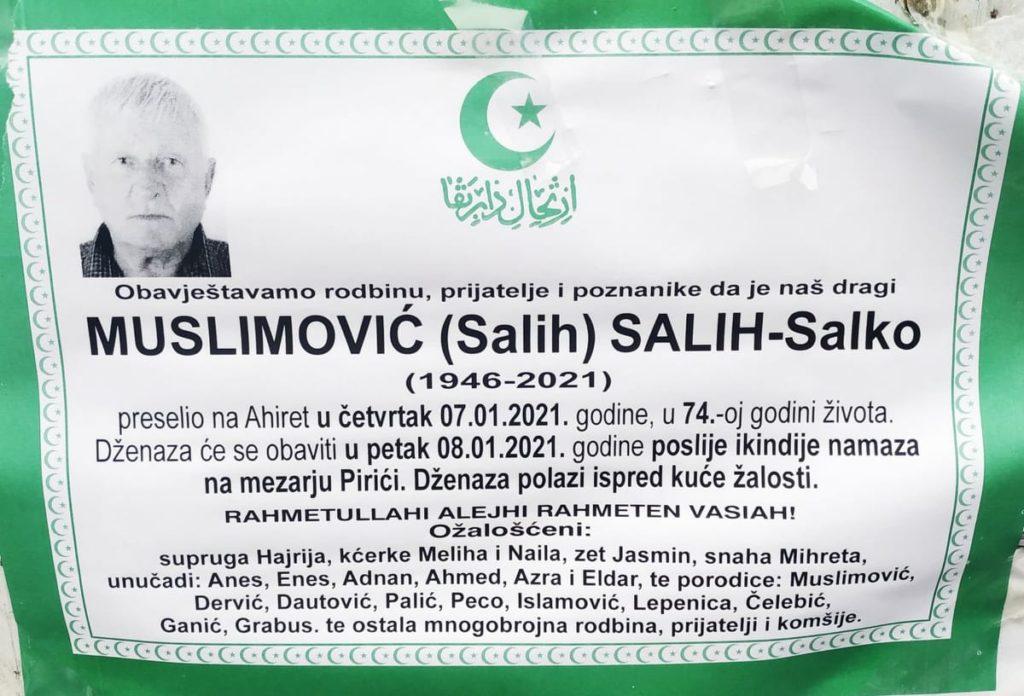 Preminuo Muslimović Salih-Salko