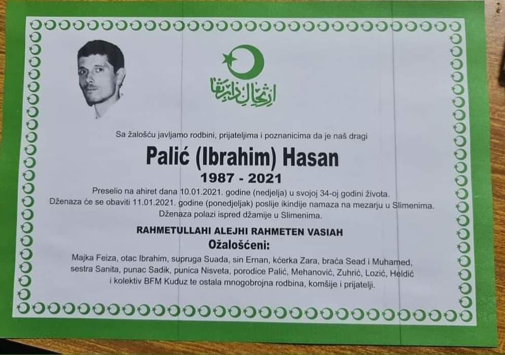 Preminuo 34-godišnji Palić Hasan