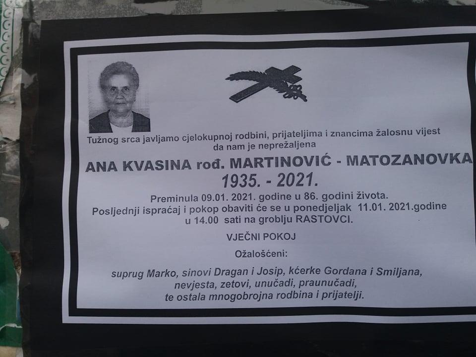 Preminula Ana Kvasina