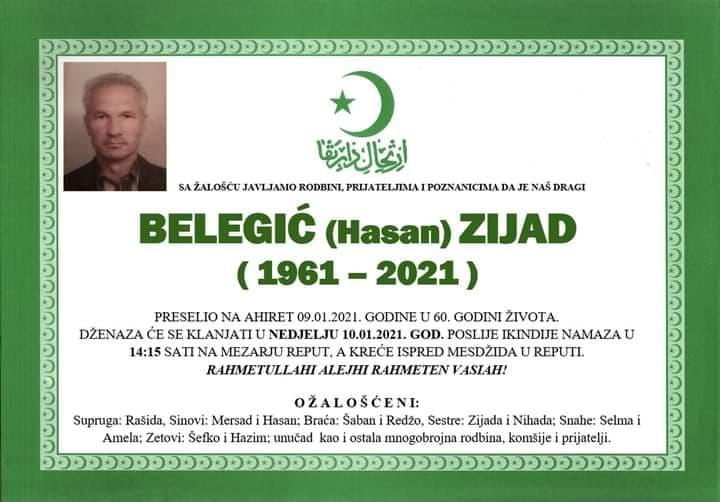 Preminuo Belegić Zijad