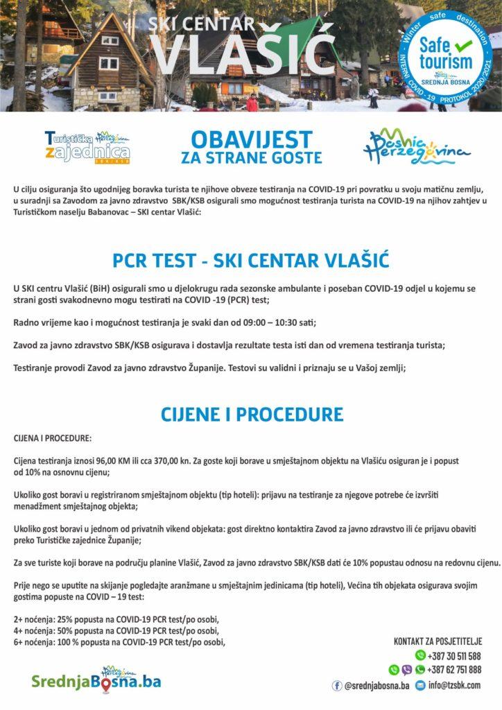 Vlašić/ PCR testiranje turista, osigurani i popusti...