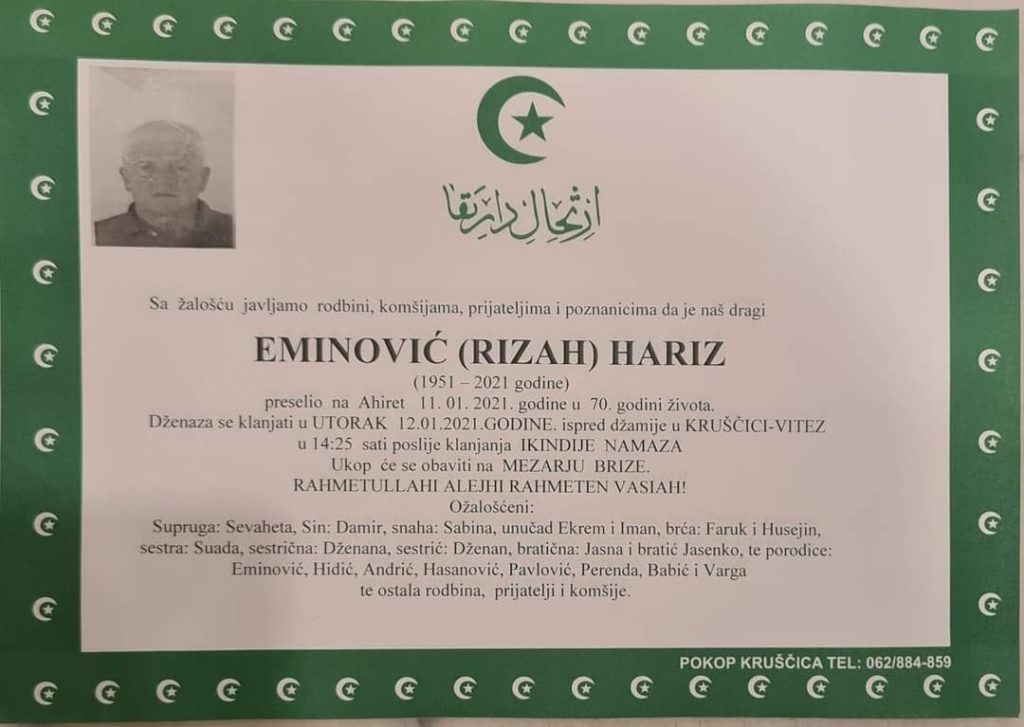 Preminuo Eminović Hariz