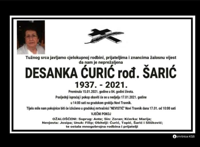 Preminula Desanka Ćurić rođ. Šarić