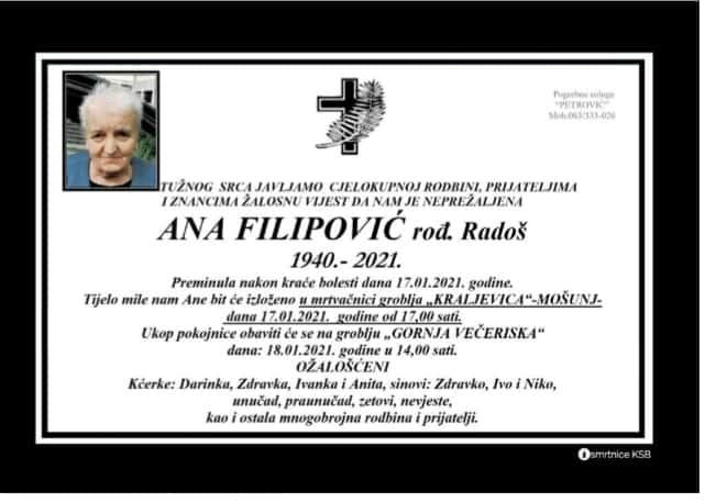 Preminula Ana Filipović
