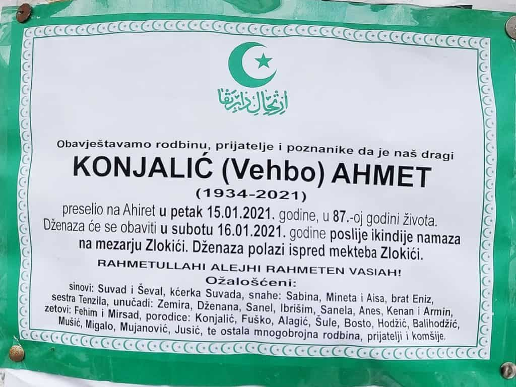 Preminuo Konjalić Ahmet