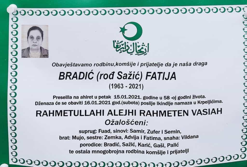Preminula Bradić Fatija